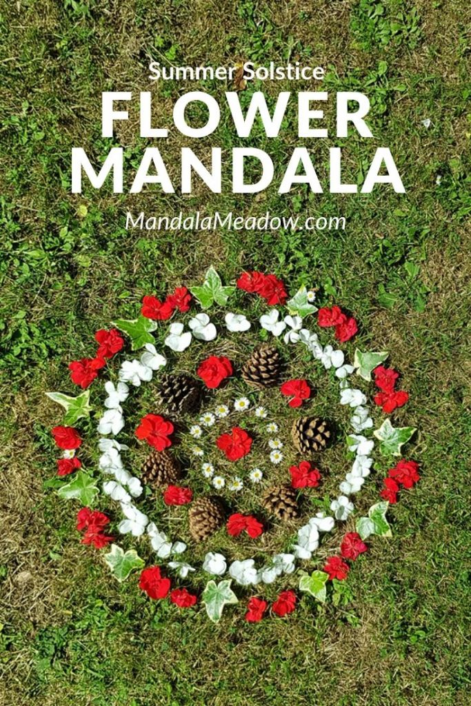 Summer Solstice Fresh Flowers Mandala - red and white flowers, pine cones and ivey leaves on grass