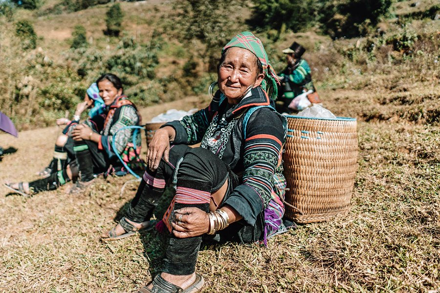 Woman with a traditional back-basket in Sapa, Vietnam