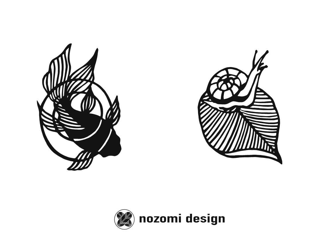 Nozomi Design Koi Carp and Snail