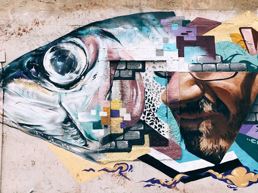 Lisbon street art | Fish head