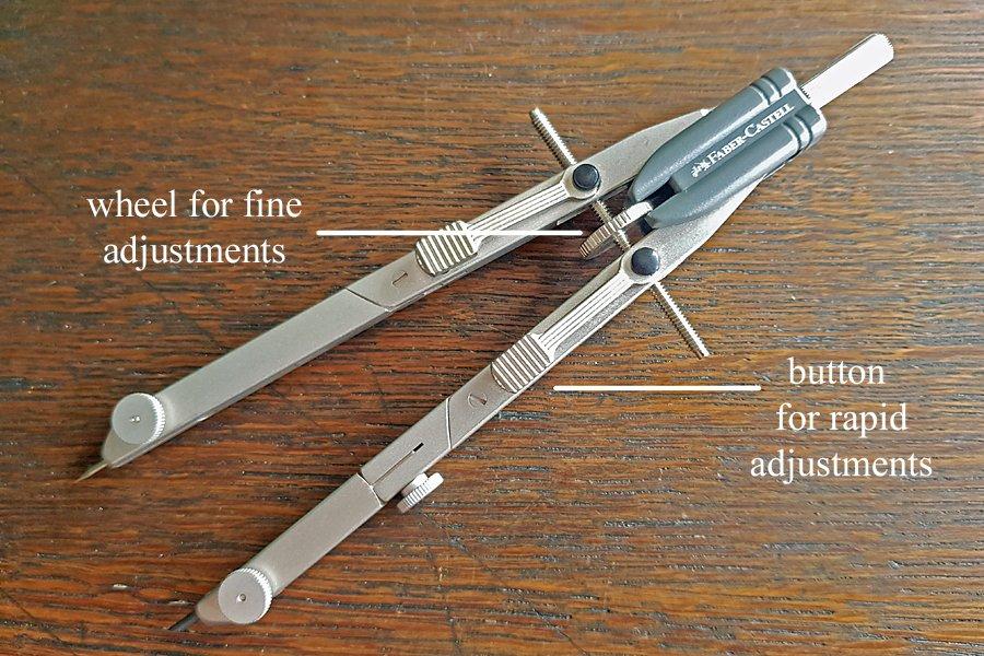 Faber-Castell compass adjustment wheel