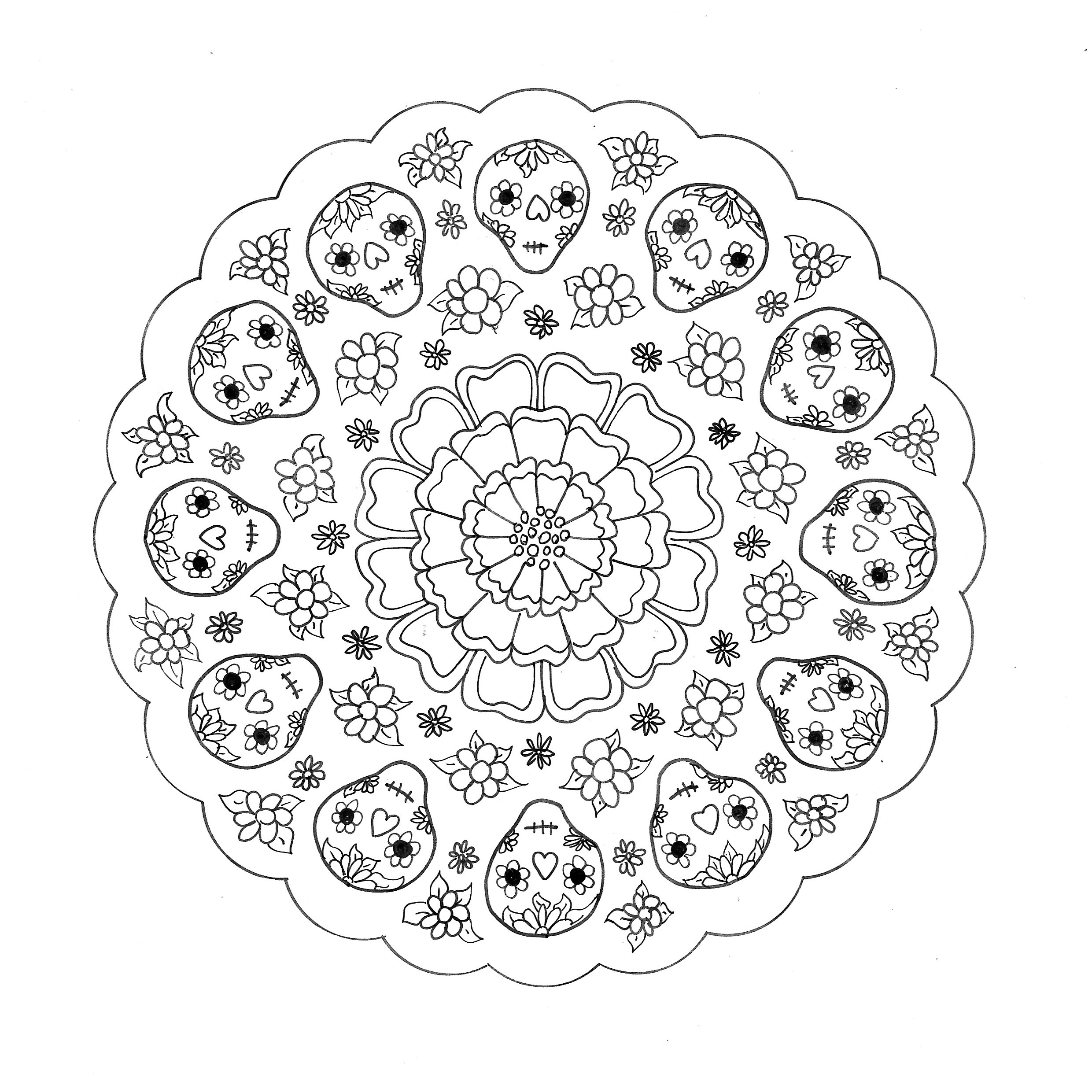 Day of the Dead Mandala to colour